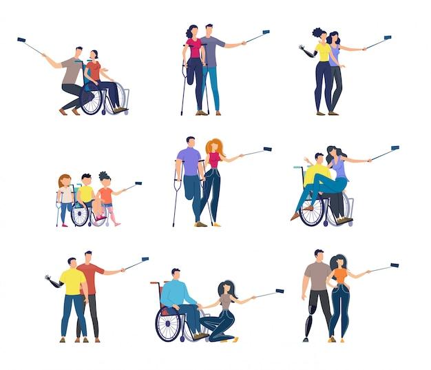 Conjunto de caracteres isolados plana de pessoas com deficiência