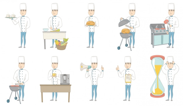 Conjunto de caracteres jovem chef caucasiano
