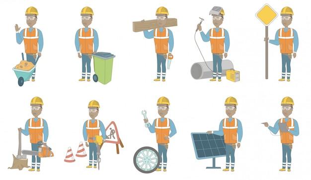 Conjunto de caracteres jovem construtor africano