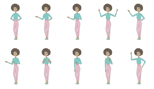 Conjunto de caracteres jovem mulher africana