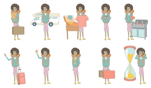 Conjunto de caracteres jovem viajante africano