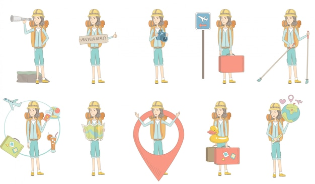 Conjunto de caracteres jovem viajante caucasiano