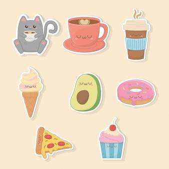Conjunto de caracteres kawaii de comida