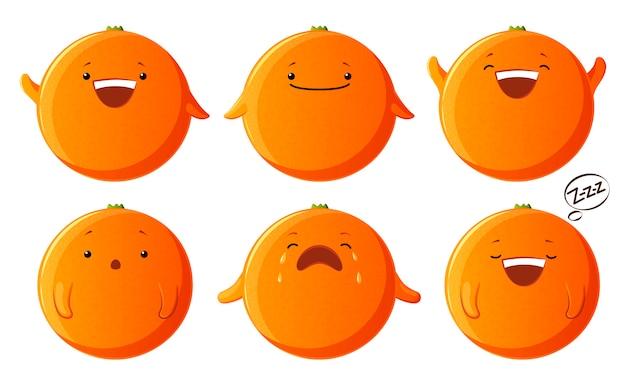 Conjunto de caracteres laranja fofos. personagens de fruta kawaii isolados