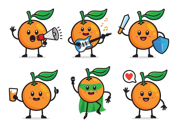 Conjunto de caracteres laranja