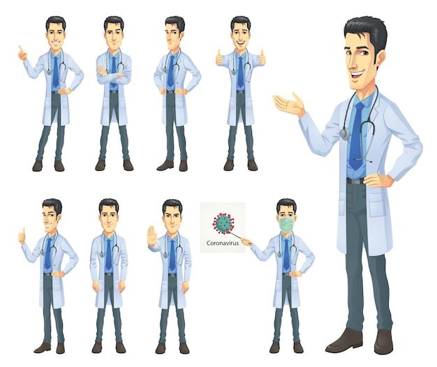 Conjunto de caracteres masculino médico e coronavírus