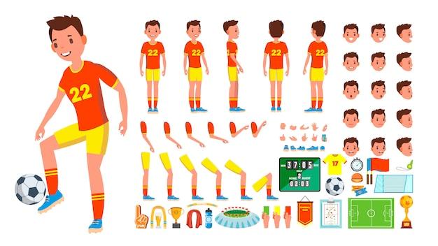 Conjunto de caracteres masculinos de jogador de futebol