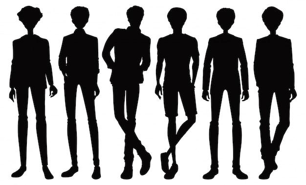 Conjunto de caracteres masculinos de silhueta