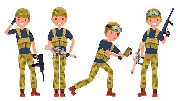 Conjunto de caracteres masculinos de soldado