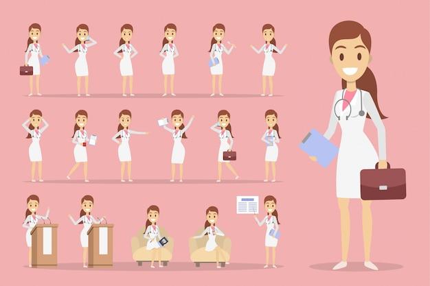 Conjunto de caracteres médico feminino com poses e emoções.
