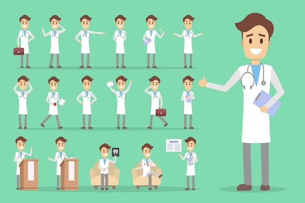 Conjunto de caracteres médico masculino com poses e emoções.