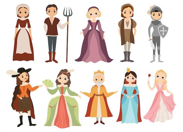 Conjunto de caracteres medievais. coleção de pessoas diferentes da corte real.
