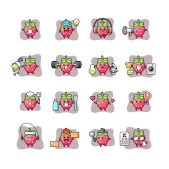 Conjunto de caracteres morango fofo e kawaii