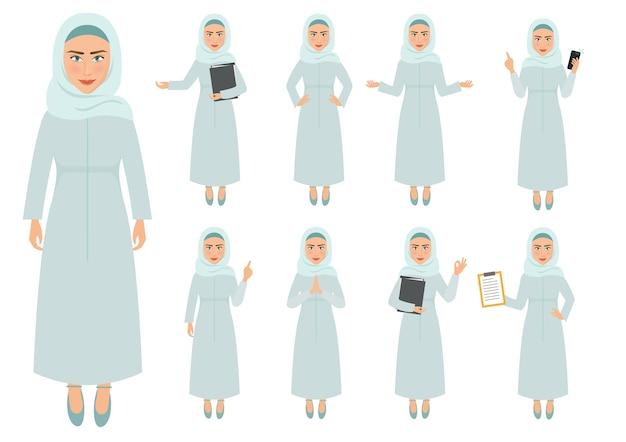 Conjunto de caracteres mulher muçulmana em um vetor de negócios