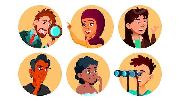 Conjunto de caracteres multicultural feliz curioso