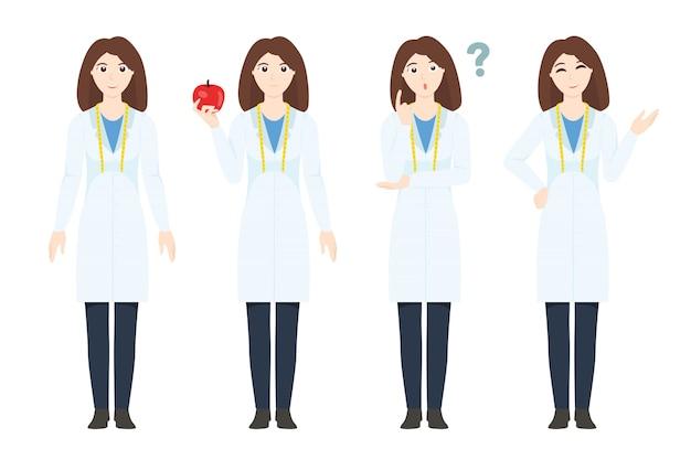 Conjunto de caracteres nutricionista de mulher
