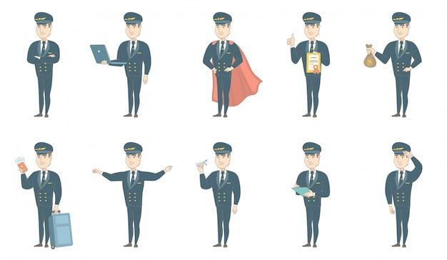 Conjunto de caracteres piloto de avião caucasiano
