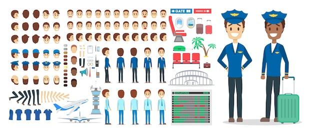 Conjunto de caracteres piloto para a animação com várias visualizações