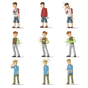 Conjunto de caracteres plana de doença medicina homem