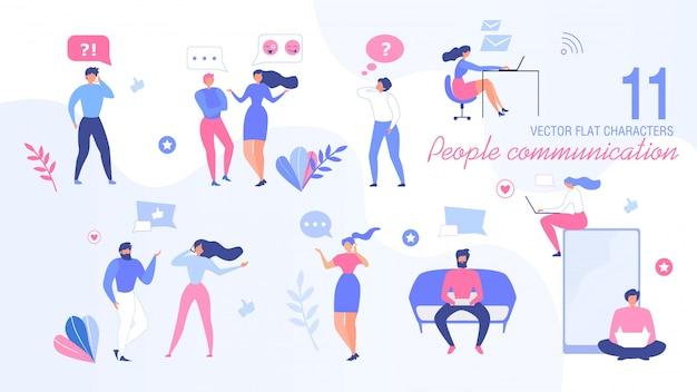 Conjunto de caracteres plana de pessoas a comunicar