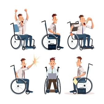 Conjunto de caracteres plana de trabalhador de escritório com deficiência
