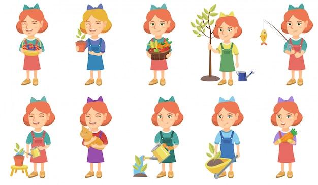 Conjunto de caracteres pouco caucasiano garota
