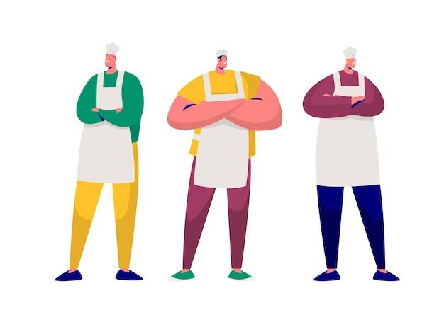 Conjunto de caracteres profissionais do chef padeiro isolado.