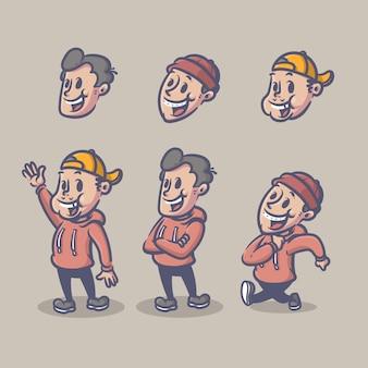 Conjunto de caracteres retrô de meninos editável