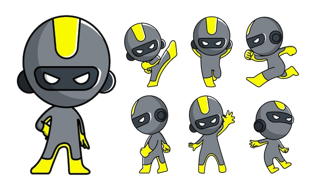 Conjunto de caracteres robot ninja mascote fofinho