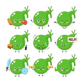 Conjunto de caracteres saudável bonito feliz e doente triste órgão órgão da vesícula biliar