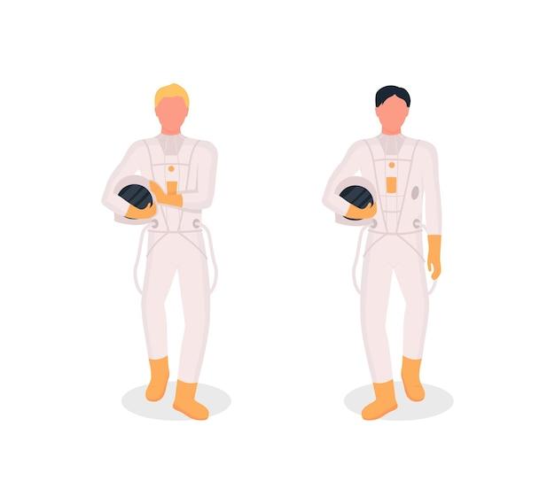 Conjunto de caracteres sem rosto de astronautas de cor lisa