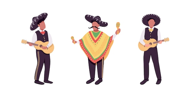 Conjunto de caracteres sem rosto de cor plana de músicos mexicanos. guitarrista hispânico. ilustração de banda desenhada de música latina tradicional isolada para coleção de design gráfico e animação