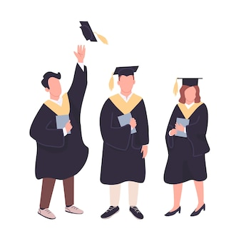 Conjunto de caracteres sem rosto de cor plana feliz graduados. estudantes universitários com diplomas de bacharelado isolaram ilustrações de desenhos animados em fundo branco. as pessoas comemoram a obtenção do diploma acadêmico
