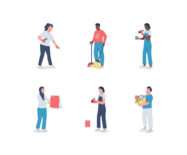 Conjunto de caracteres sem rosto de diversas cores planas para limpeza de primavera