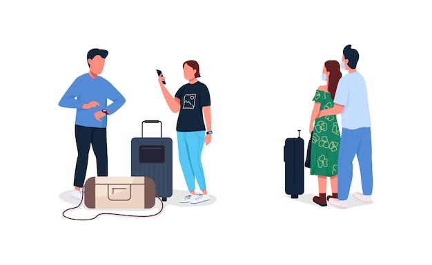 Conjunto de caracteres sem rosto de passageiros de avião