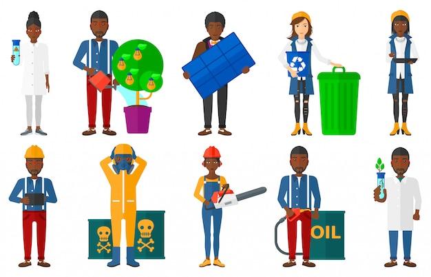 Conjunto de caracteres sobre questões de ecologia.