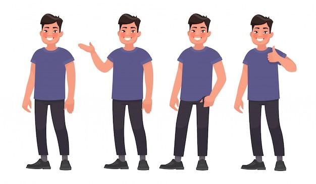 Conjunto de caracteres um homem asiático bonito em roupas casuais em poses diferentes