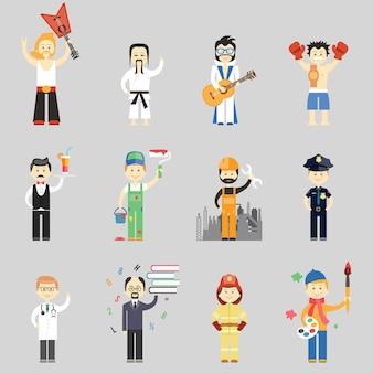 Conjunto de caracteres vetoriais em diferentes profissões, incluindo artes marciais músicos garçom pintor trabalhador da construção civil policial médico professor bombeiro e artista