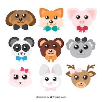Conjunto de caras de animais kawaii