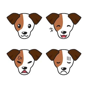 Conjunto de caras de cachorro jack russell terrier mostrando emoções diferentes