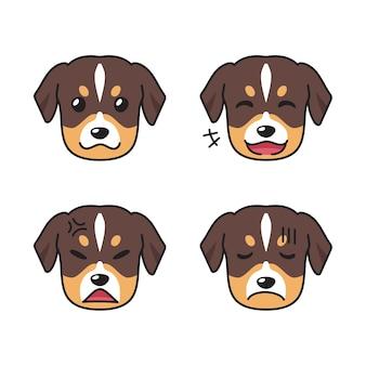 Conjunto de caras de cachorro mostrando emoções diferentes
