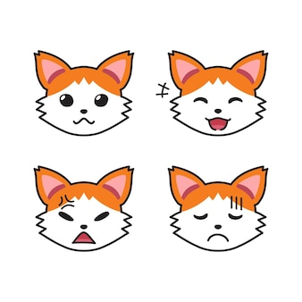 Conjunto de caras de gato mostrando diferentes emoções para o projeto. Vetor Premium