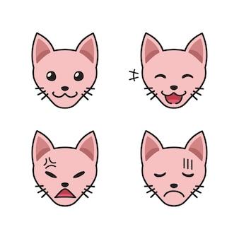 Conjunto de caras de gato sphynx mostrando emoções diferentes