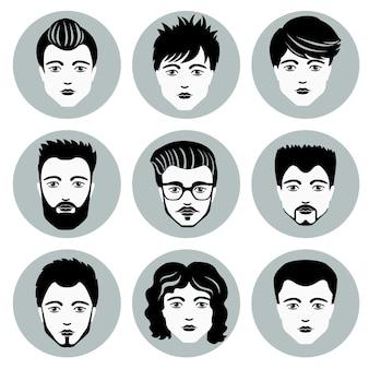 Conjunto de caras elegantes