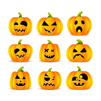 Conjunto de caras engraçadas de abóboras de halloween