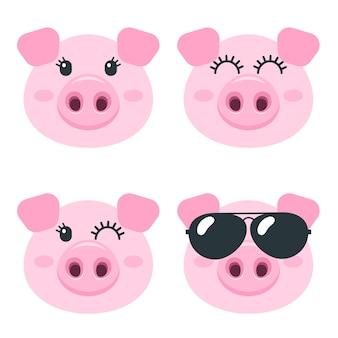 Conjunto de caras fofas de porco isoladas em branco