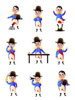 Conjunto de caráter colorido fofo de napoleão, roupas de criança