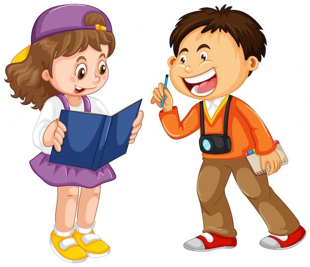 Conjunto de caráter de crianças felizes