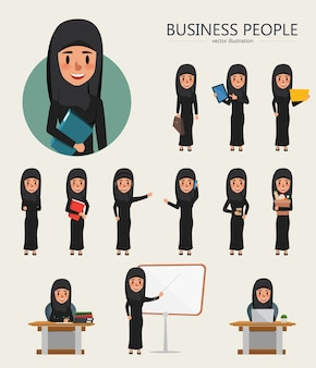 Conjunto de caráter de mulher árabe de negócios