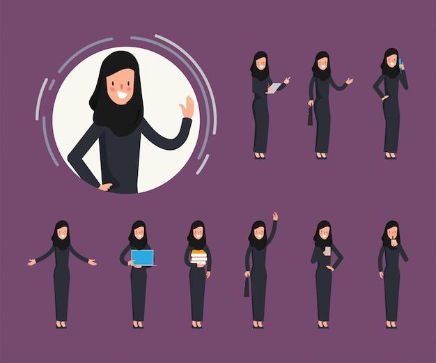 Conjunto de caráter de mulher muçulmana árabe fazendo trabalho.